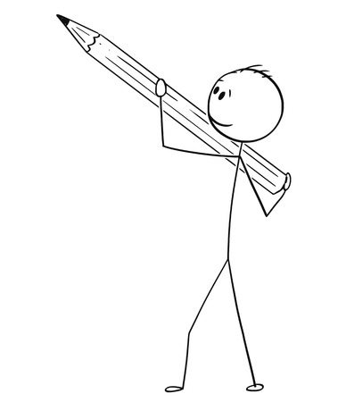 Cartoon stick drawing conceptual illustration of man or businessman holding pencil ready to draw or write something.