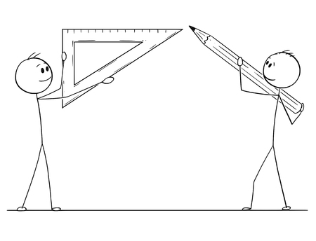 Cartoon stick drawing conceptual illustration of two men or businessmen holding pencil and triangle rule or ruler ready to draw something.