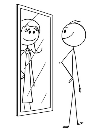 Cartoon stick drawing conceptual illustration of man looking at himself in the mirror but seeing woman inside. Vetores