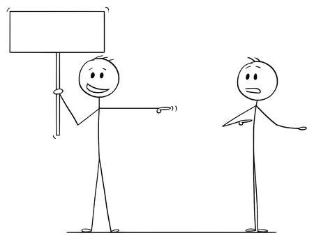 Bâton de bande dessinée dessinant une illustration conceptuelle d'un homme ou d'un homme d'affaires tenant une pancarte vide pour votre texte et blâmant un autre homme.