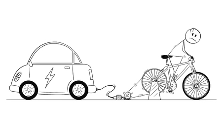 Cartoon stick drawing conceptual illustration of man riding hard on bicycle power generator to charge his electric car battery. 向量圖像