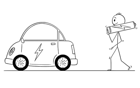 Cartoon stick drawing conceptual illustration of man carrying big AA battery as power source for electric car. Ilustracja