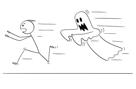 Cartoon stick drawing conceptual illustration of frightened man running away from ghost. Halloween theme. Stock Illustratie