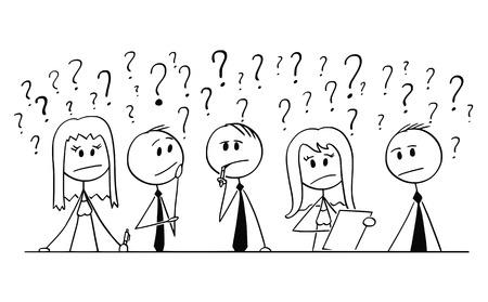 Cartoon-Stick-Mann, der konzeptionelle Illustration einer Gruppe von fünf Geschäftsleuten, Geschäftsleuten und Geschäftsfrauen zeichnet und über das Problem mit Fragezeichen um sie herum nachdenkt. Konzept der Zusammenarbeit und Brainstorming.