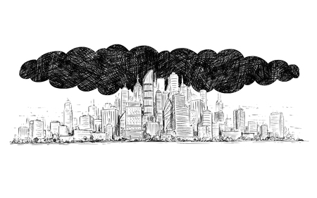 Vector artistic pen and ink drawing illustration of high rise building and dark smoke cloud covering the city by air pollution.