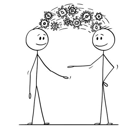 Cartoon stick tekening conceptuele afbeelding van twee mannen of zakenlieden die kennis delen weergegeven als tandwielen die van kop tot kop komen. Bedrijfsconcept van inspiratie en creativiteit.