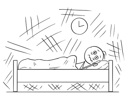 Cartoon stick drawing conceptual illustration of man lying in the bed and unable to sleep because of Insomnia