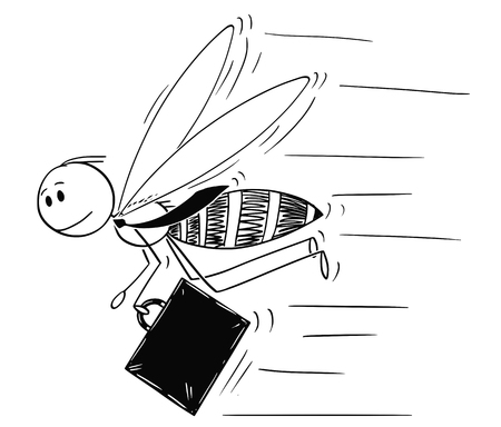 Cartoon stick drawing conceptual illustration of businessman depicted as hardworking insect bee or honeybee in hurry to do more work. Иллюстрация