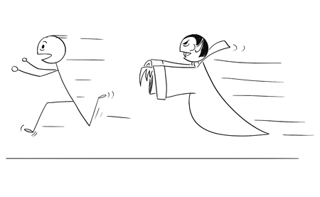 Cartoon stick drawing conceptual illustration of scared man running away from vampire.