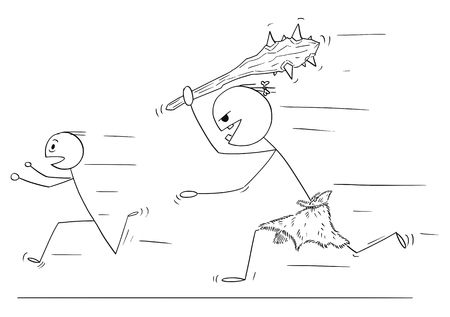 Cartoon stick drawing conceptual illustration of scared man running away from caveman or giant with big bludgeon or club. Ilustrace