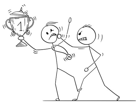 Cartoon stick drawing conceptual illustration of man or businessman attacking trophy cup and medal winner. 向量圖像
