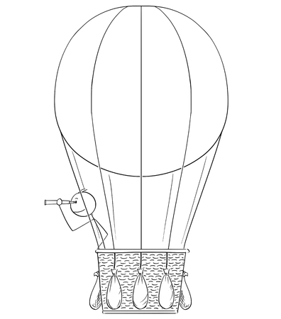 Cartoon stick drawing conceptual illustration of man or businessman in hot air balloon looking through spyglass.