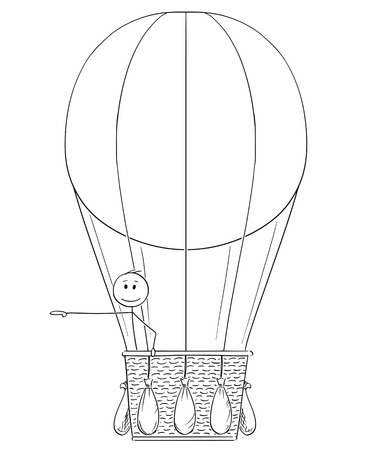 Cartoon stick drawing conceptual illustration of man or businessman in hot air balloon pointing his hand at something on his side, possibly sign or text.