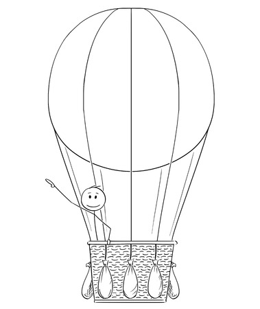 Cartoon stick drawing conceptual illustration of man or businessman in hot air balloon pointing his hand at something above or up, possibly sign or text. Иллюстрация
