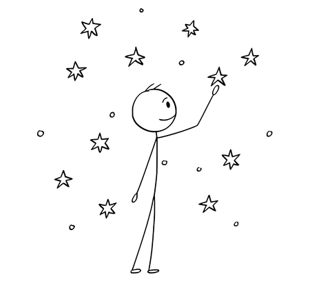 Cartoon stick drawing conceptual illustration of man touching stars on the sky.