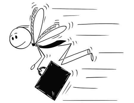 Cartoon stick drawing conceptual illustration of businessman depicted as insect, fly or mosquito, in hurry to do another business.