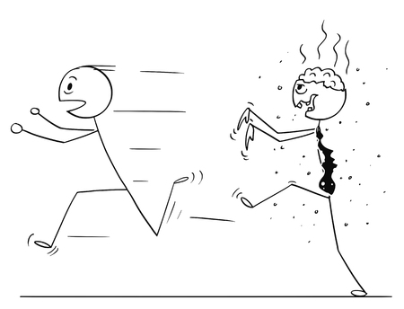 Cartoon stick drawing conceptual illustration of scared man running away from zombie businessman.