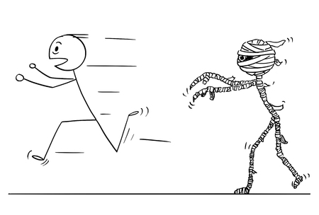 Cartoon stick drawing conceptual illustration of scared man running away from mummy. Stock Illustratie