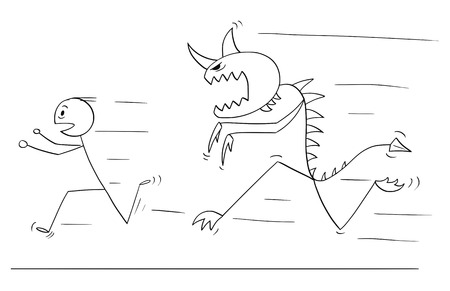 Cartoon stick drawing conceptual illustration of scared man running away from monster creature. Ilustrace
