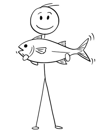 Cartoon stick drawing conceptual illustration of fisherman holding a big catch fish.