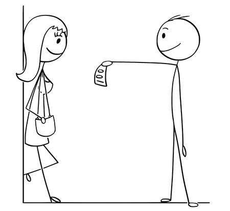 Cartoon stick drawing conceptual illustration of man or client paying or giving money to woman for service.