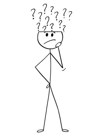 Cartoon stick drawing conceptual illustration of man or businessman thinking and asking yourself. Question marks are coming from his head. Ilustração