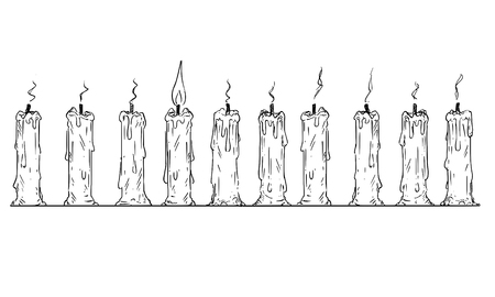 Cartoon drawing conceptual illustration of one lit candle in row of burnt-out candles. Business concept of individuality and teamwork. Иллюстрация