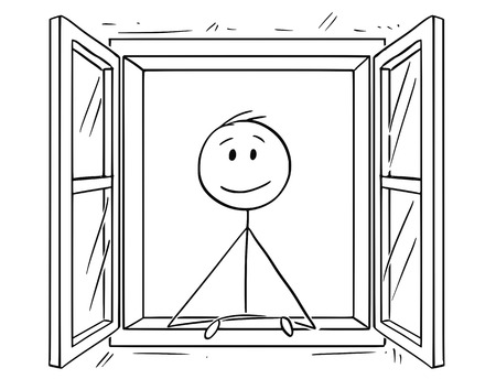 Cartoon stick tekening conceptuele afbeelding van man op zoek door open raam.