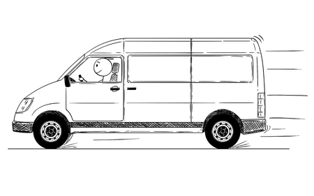 Cartoon stick drawing conceptual illustration of fast driving generic delivery van. Illustration