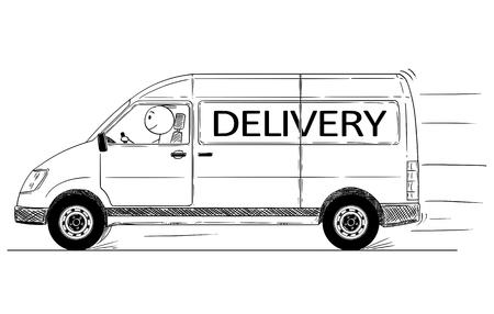 Cartoon stick drawing conceptual illustration of fast driving generic delivery van. Иллюстрация