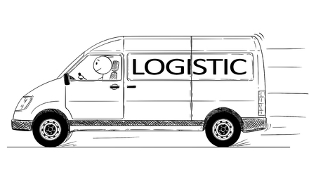 Cartoon stick drawing conceptual illustration of fast driving generic delivery van with logistic text.