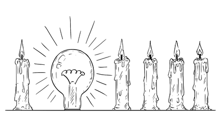 Cartoon drawing conceptual illustration of shining light bulb in row of candles. Business concept of individuality and teamwork. Иллюстрация