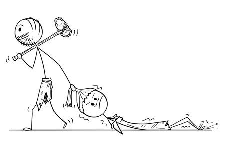 Cartoon stick drawing conceptual illustration of prehistoric man or caveman dragging woman as contemporary relationship metaphor.