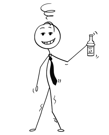 Cartoon stick drawing conceptual illustration of cheerful or jovial drunk man or businessman holding bottle in hand.