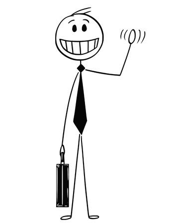 Cartoon-Stick-Mann, der konzeptionelle Illustration eines fröhlichen, optimistischen und lächelnden Geschäftsmannes zeichnet, der seine Hand winkt.