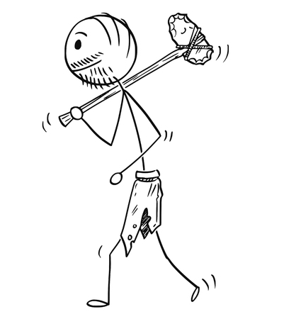 Cartoon stick drawing conceptual illustration of prehistoric man or caveman walking with stone axe or ax.