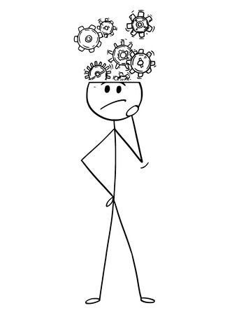 Cartoon stick drawing conceptual illustration of man or businessman thinking and solving a problem. Cog or gear wheels are coming from his head.