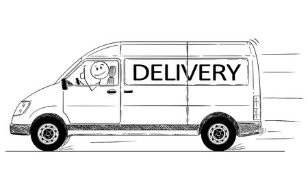 Cartoon stick drawing conceptual illustration of driver of fast driving generic van with delivery text showing thumbs up gesture.