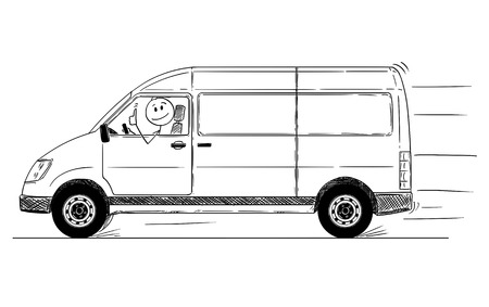 Cartoon stick drawing conceptual illustration of driver of fast driving generic delivery van showing thumbs up gesture.