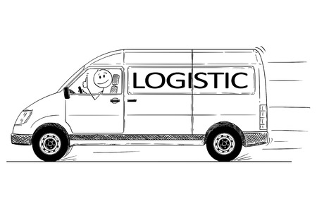 Cartoon stick drawing conceptual illustration of driver of fast driving generic delivery van with logistic text showing thumbs up gesture.
