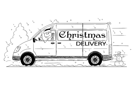Cartoon stick drawing conceptual illustration of driver of fast driving generic delivery van with Christmas delivery text showing thumbs up gesture.