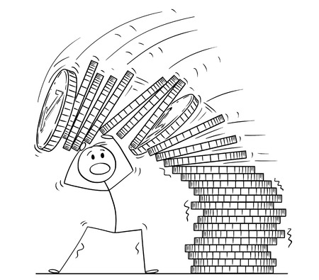 Cartoon stick drawing conceptual illustration of man or businessman under falling pile of coins. Business concept of financial crisis.