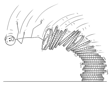 Cartoon stick drawing conceptual illustration of man or businessman falling from pile of coins. Business concept of financial crisis.