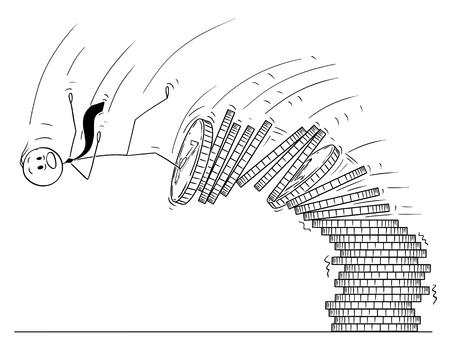 Cartoon-Stick Zeichnung konzeptionelle Darstellung von Mann oder Geschäftsmann fallen von Haufen Münzen. Geschäftskonzept der Finanzkrise.