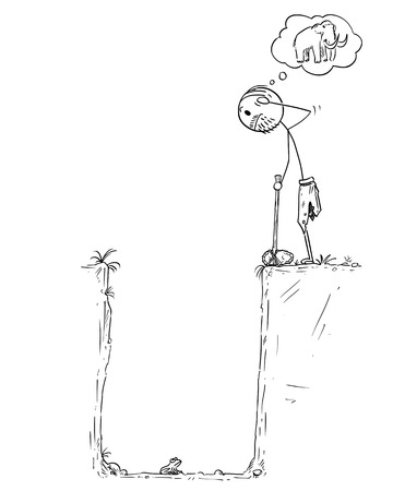 Cartoon stick drawing conceptual illustration of prehistoric man or caveman who catch small frog in pitfall instead of mammoth. Concept of hard livelihood and hunger.