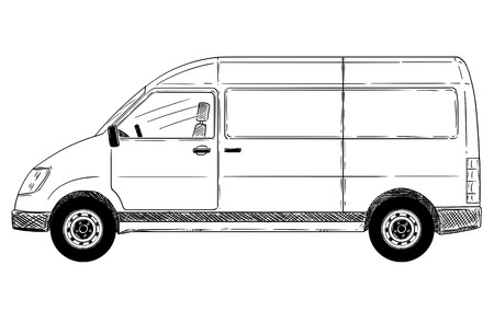Cartoon stick drawing conceptual illustration of side view of generic delivery van.
