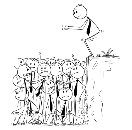 Cartoon stick man drawing conceptual illustration of businessman ready to jump in shallow water of saturated or oversaturated market. Business metaphor.