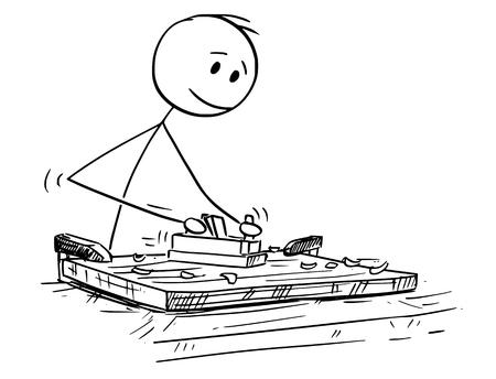 Cartoon-Stick Zeichnung konzeptionelle Illustration von Tischler oder Zimmermann, die mit Holz und Jack-Flugzeug arbeiten.