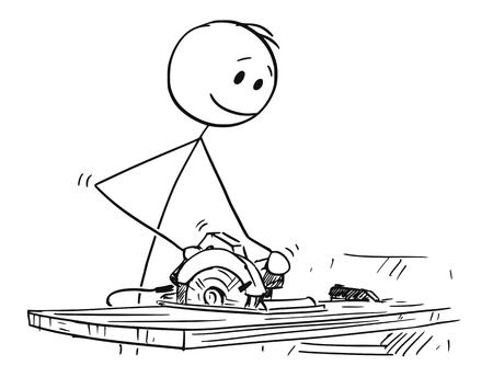Cartoon stick drawing conceptual illustration of joiner or carpenter cutting wood portable circular saw. Vetores