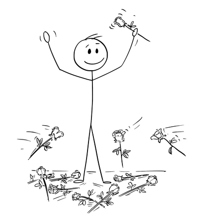 Cartoon stick drawing conceptual illustration of man on stage to who was given standing ovation and flowers are thrown from audience. Metaphor of success.